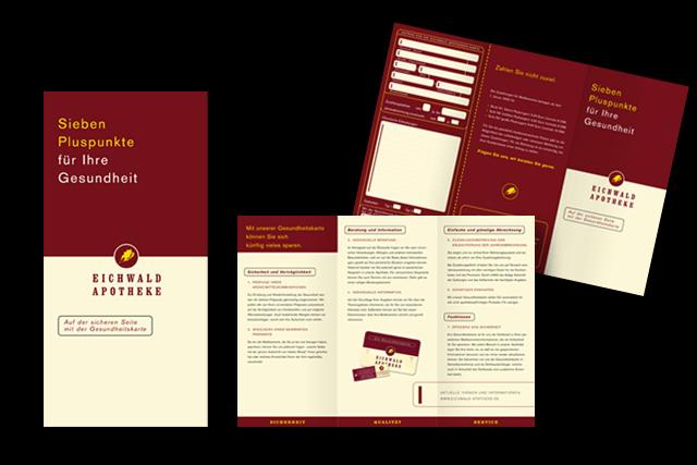 Branding für alle neuen Medien der Eichwald Apotheke (alle Printmedien, Geschäftsausstattung usw.)