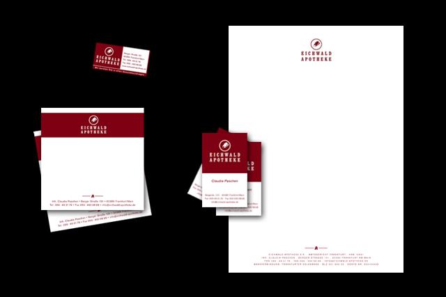 Geschäftsausstattung für die Eichwald Apotheke - Briefpapier, Visitenkarten, Notitzblöcke, Etiketten usw.