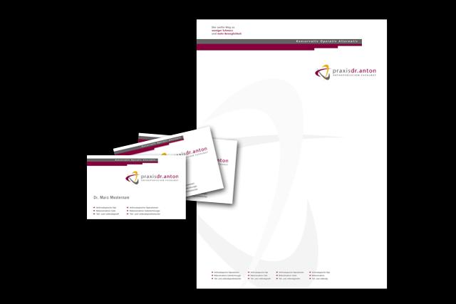 Gestaltung von Briefpapier und Visitenkarten für Arztpraxis