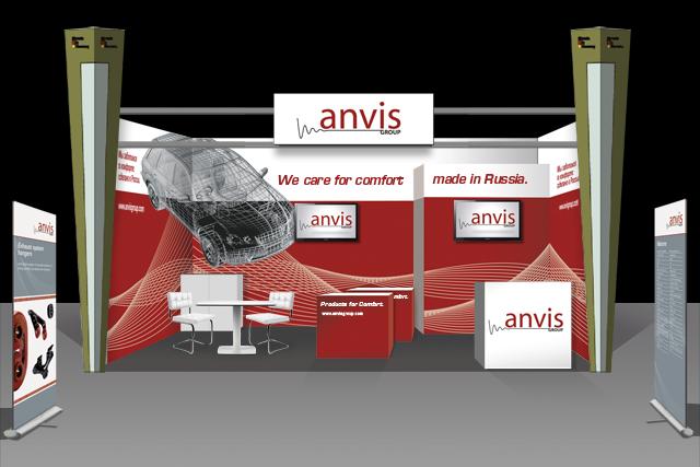 Konzept und Gestaltung für den Anvis Messestand (Interauto Moskau)