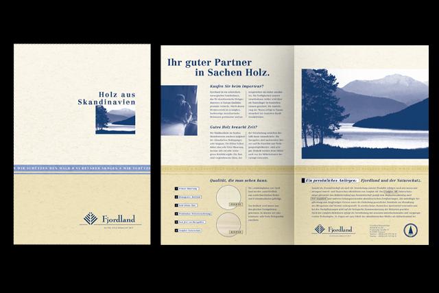 Salesfolder und Slogan für Fjordland (Baustoffe, Handel)