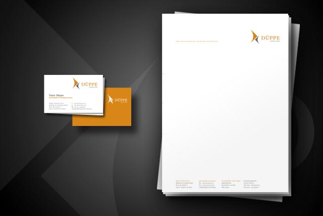 Design von Briefpapier und Visitenkarten