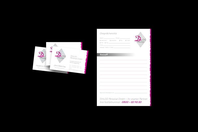 Für Dialog: Produktion der Drucksachen, Visitenkarten, Notizblöcke