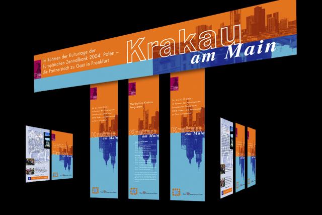 Gestaltung von Banner, Plakat und Aufsteller-Displays für die Stadt Frankfurt am Main