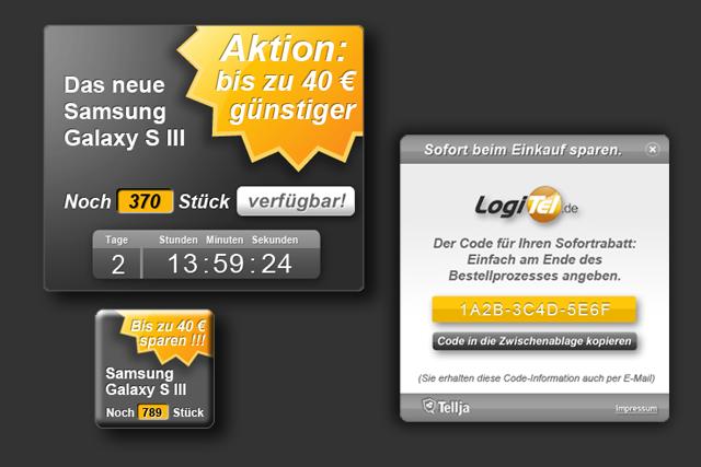 Design für Webshop/Online-Shop: Button und Online-Banner, Groupbuying-Teaser für Portal für digitales Empfehlungsmarketing
