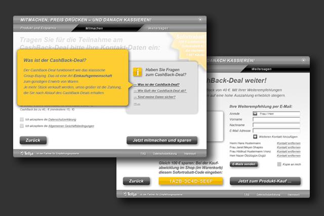 Konzept und Design für Webshop / Online-Shop Groupbuying-Widget