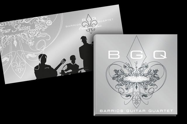 Flyer für Akquisitions-Mailing mit dem Cover der neuen CD (Kultur, Musik, Barrios Guitar Quartet)