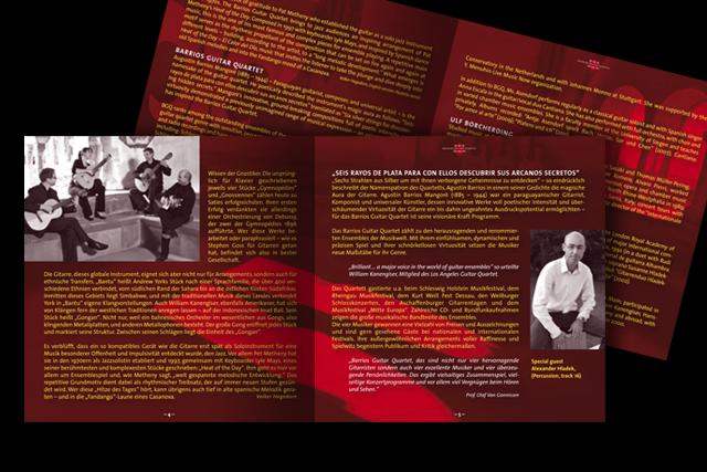 Innenseiten für die Broschüre/Booklet der neuen CD (Kultur, Musik, Barrios Guitar Quartet)