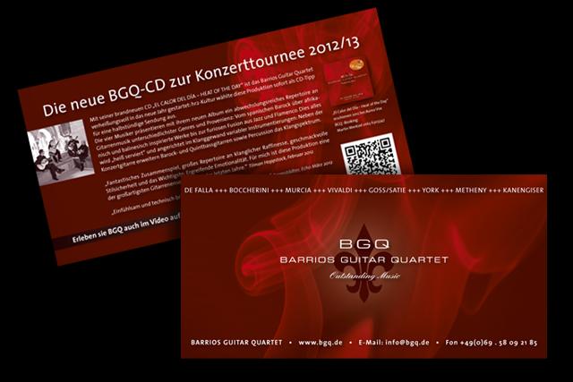 Akquisitions Mailing für die neue CD von BGQ (Barrios Guitar Quartet, Kultur )