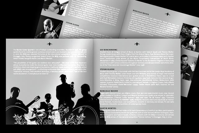 Innenseiten des Booklets der neuen CD (Kultur, Musik, Barrios Guitar Quartet)