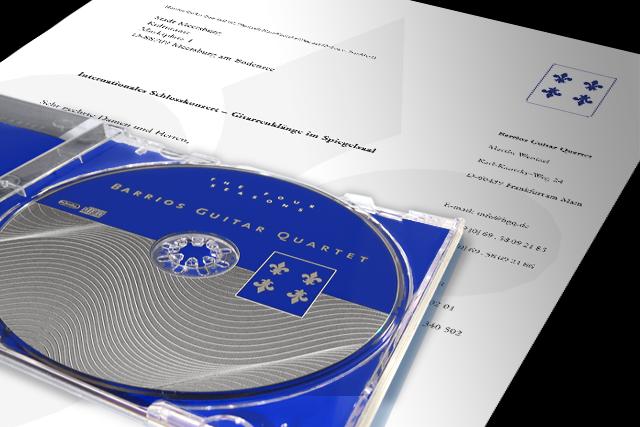 Mailing für Gitarrenquartett (Kultur) mit Anschreiben und Give-Away CD