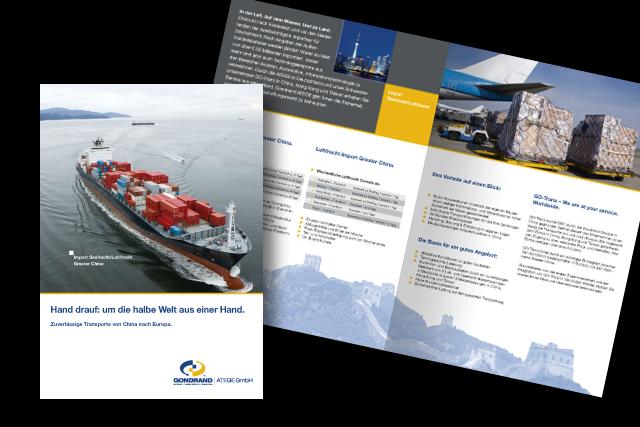 Broschüre mit Angeboten für Logistik-Dienstleistungen für Importe aus China