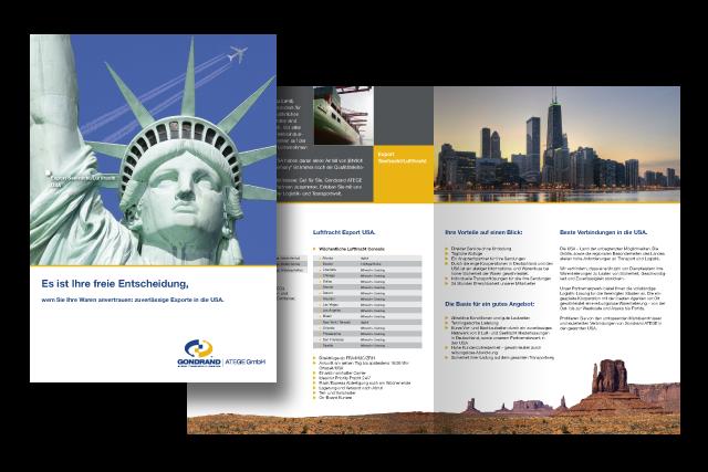 Broschüre mit Angeboten für Logistik-Dienstleistungen für USA Luftfracht und Seefracht Exporte
