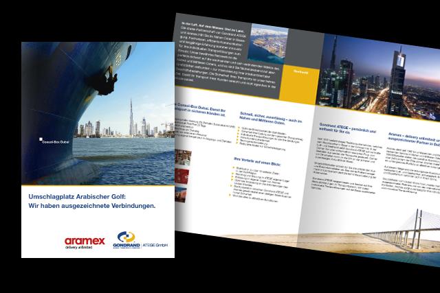 Broschüren-Gestaltung für Logistik und Transport für den Arabischen Golf / Dubai