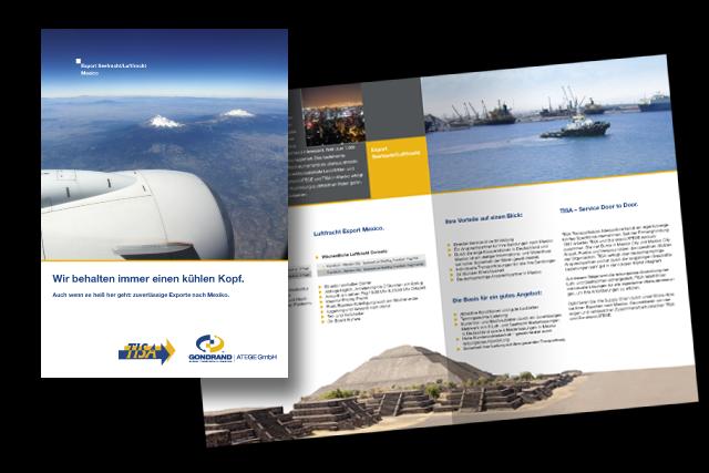 Broschüren Gestaltung und Layout für Logistik / Transport von und nach Mexiko