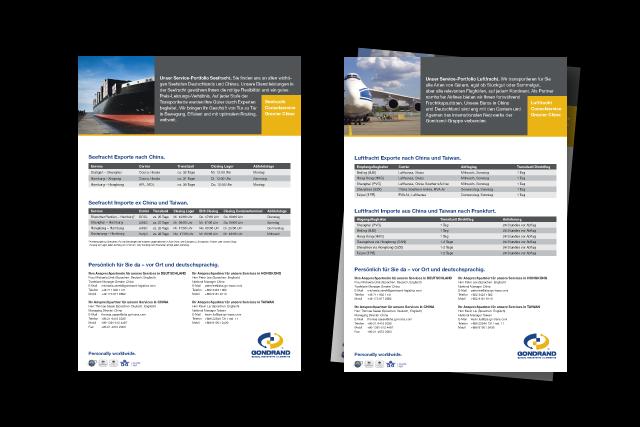 Konzept für Logistik-Flyer / Produktblätter Luftracht und Seefracht China