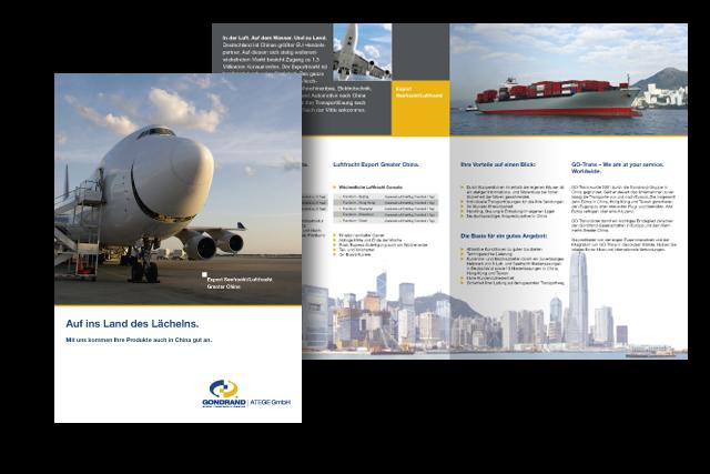 Design von Folder für Logistik-Dienstleistungen für Exporte nach China