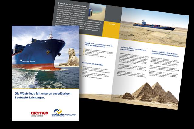 Gestaltung von Foldern für Logistik- und Transportdienstleistungen von und nach Ägypten (Consol-Box)