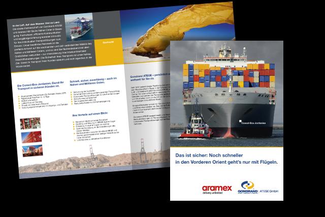 Konzept und Layout von Foldern für Logistik- und Transport von und nach Jordanien (Consol-Box Seefracht)