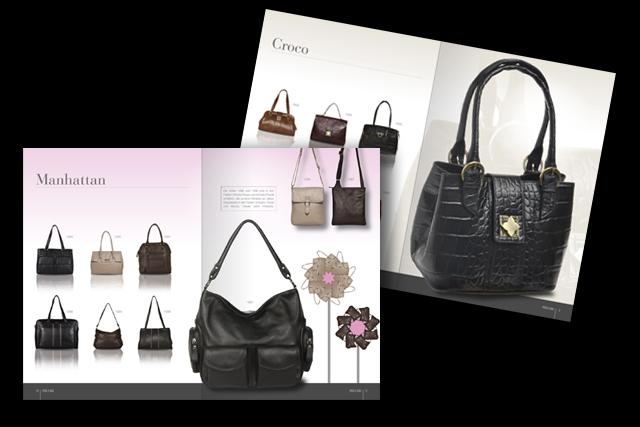 Katalog-Layout für Lederwaren Label, modische Handtaschen und Accessoires