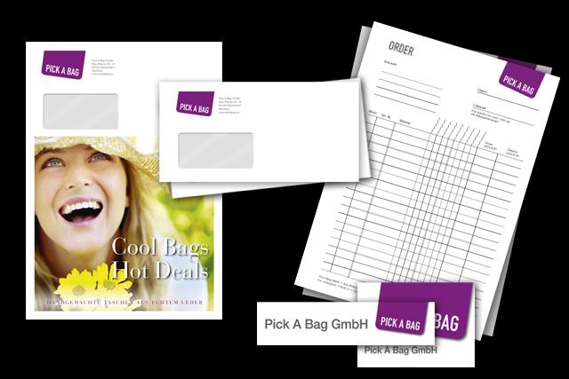 Geschäftsausstattung, Formulare (auch online), Mailing, Umschläge, Schilder etc.