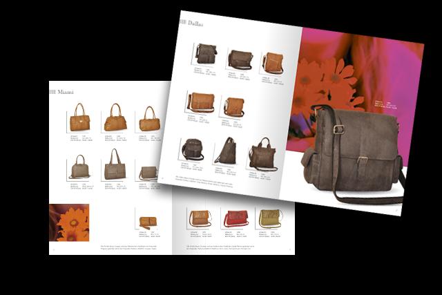 Gestaltung für einen Prospekt mit feinen Lederwaren, Handtaschen, Kleinlederwaren etc.