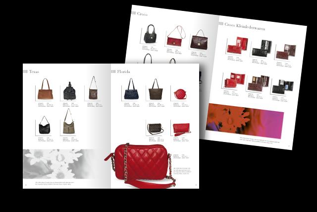 Layout für einen Prospekt mit modischen Lederwaren, Handtaschen etc.