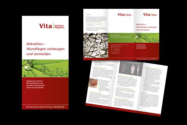 Gestaltung von Flyern mit Informationen für Kunden, Angehörige etc. für ambulante Pflegedienste, Vita Frankfurt
