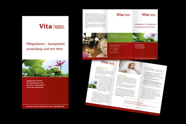 Vita Frankfurt, Gestaltung von Flyern für Pflegeunternehmen
