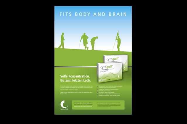 Pharma Anzeige für Nahrungsergänzungsmittel-Produkte mit Slogan und neuem Packaging