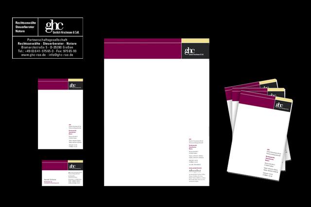 Kommunikationskonzept, Geschäftspapiere wie Briefpapier Visitenkarten etc. für Rechtsanwälte