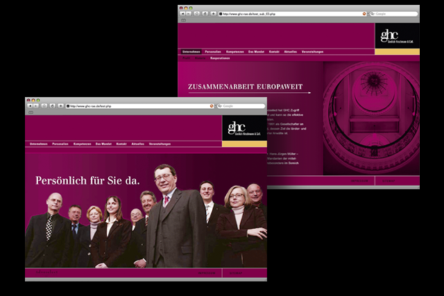 Webdesign, Homepage für Rechtsanwälte