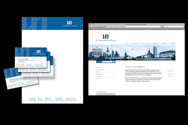Dr. Marschner Stiftung Frankfurt Webdesign, Corporate Design, Visitenkarte, Briefpapier