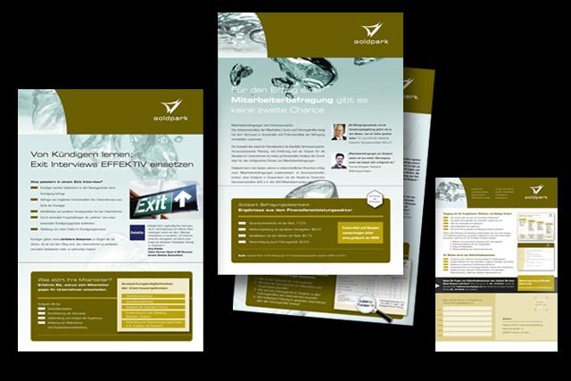Design und Produktion von Produktblättern für Dienstleistungsangebote der Goldpark Unternehmensberatung, mit verschiedenen Response-Möglichkeiten