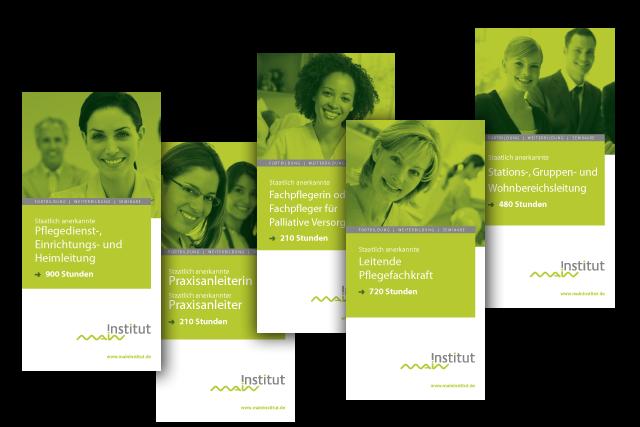 Branding: verschiedene Flyer für Weiterbildungs-Angebote