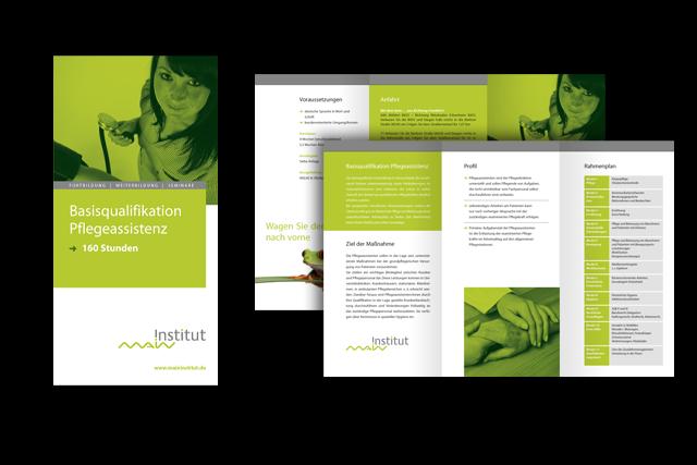 Gestaltung von Info-Flyern für Weiterbildungs-Möglichkeiten im Bereich Altenpflege