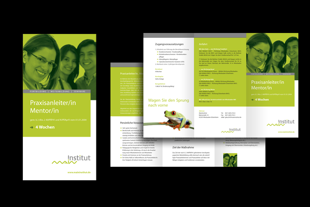 Gestaltung von Info-Flyern für Weiterbildungs-Möglichkeiten im Bereich Pflegedienst