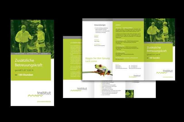 Gestaltung von Broschüren und Foldern für Weiterbildungs-Möglichkeiten im Bereich Gesundheit und Altenpflege