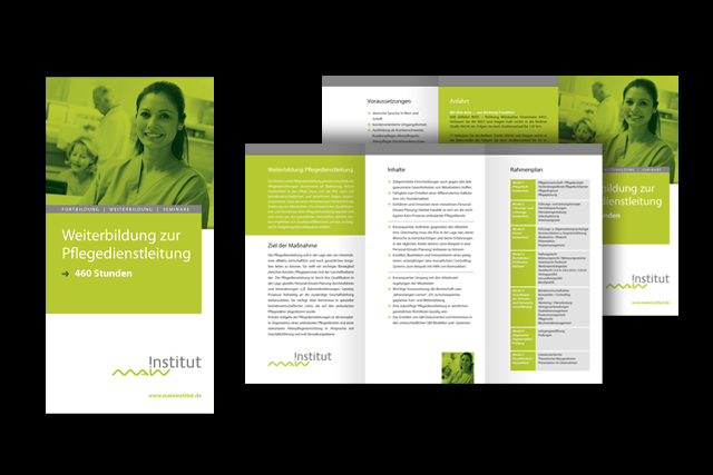 Image-Folder über Weiterbildungs-Möglichkeiten für Pflegedienst und Altenpflege