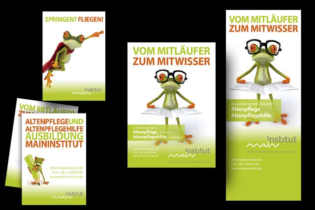 Werbe- und Imagekampagne für Aus- und Weiterbildungsangebote für den Bereich Gesundheit und Altenpflege mit Anzeigen, Plakaten, Roadshows