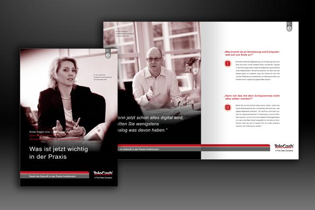 Imagebroschüre für Mailing im Bereich E-Health zur Positionierung von E-Commerce und Bezahlsysteme