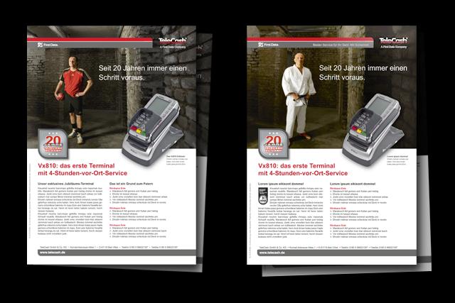 Produktblätter mit Motiven der Imagekampagne für E-Commerce und Bezahlsysteme